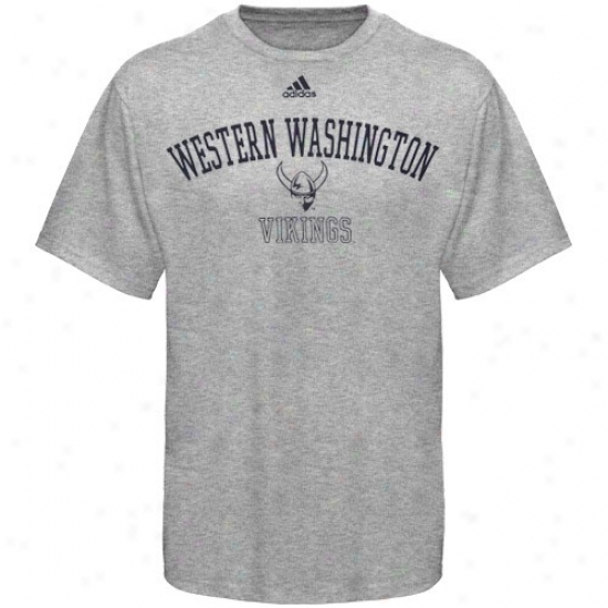 Western Washington Vikings Apparel: Adidas Western Washington Vikings Ash Practice T-shirt