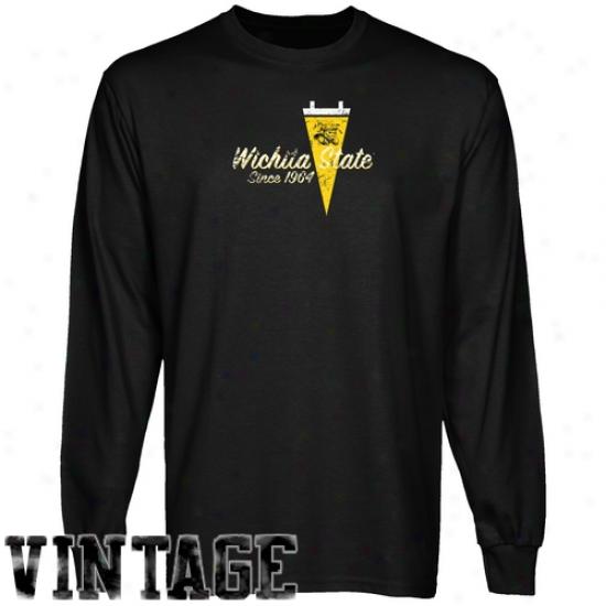 Wichita State Shockers Tshirt : Wichita State Shockers Black Pennant Tradition Vintage Long Sleeve Tshirt