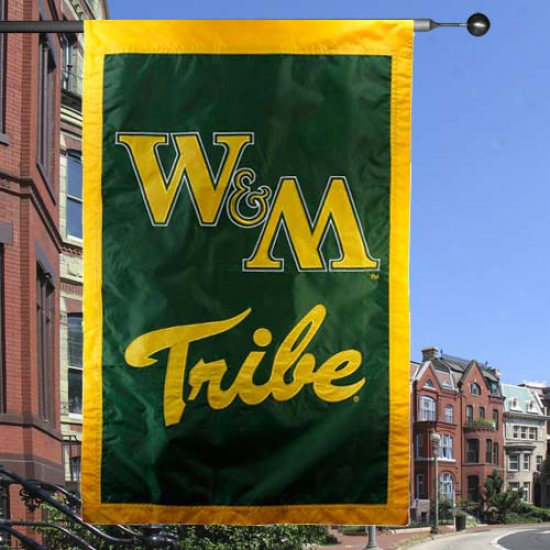 William & Mary Tribe Banner : William & Mary Tribe Green 28'' X 44'' Team Logo Applique Flag