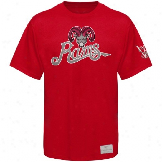 Winston-salem State Rams Tee : New Era Wlnston-salem National University Rams Red Fresh Mascot Premium Tee