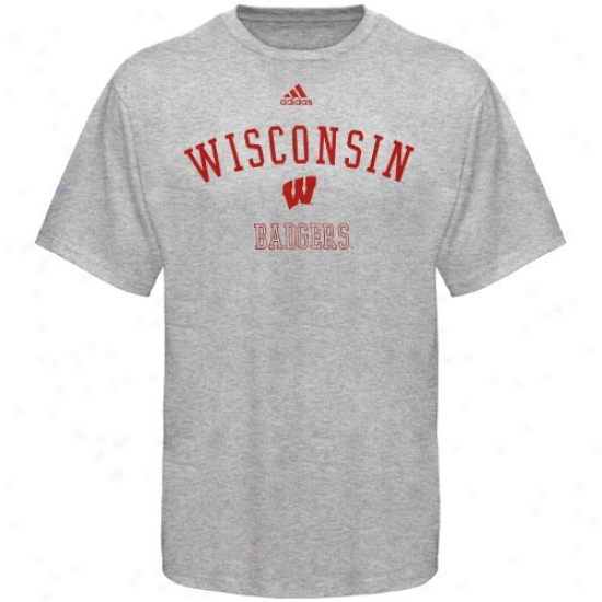 Wisconsin Badgers Apparel: Adidas Wisconsin Badgers Ash Practice T-shirt