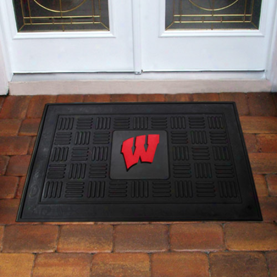 Wisconsin Badgers Black Team Logo Rubber Mat