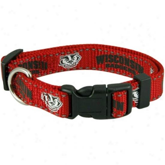 Wsconsin Badgers Cardinal Small Adjustable Pet Collar