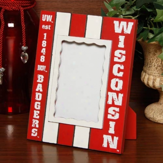 Wisconsin Badgers Cardinal-white Striped Vertical Picture Frame