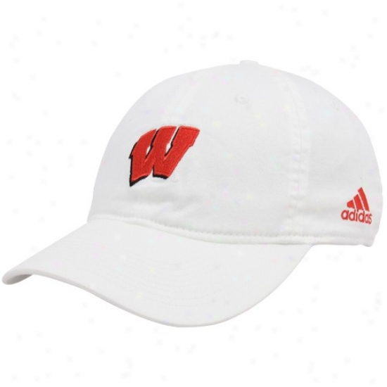 Wisconsin Badgers Hat : Adidas Wisconsin Badgeds White Basic Logo Slope Flex Fit Hat