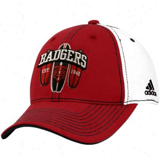 Wisconsin Badgers Hat : Adidas Wisconsin Badgers White Surf Board Flex Hat