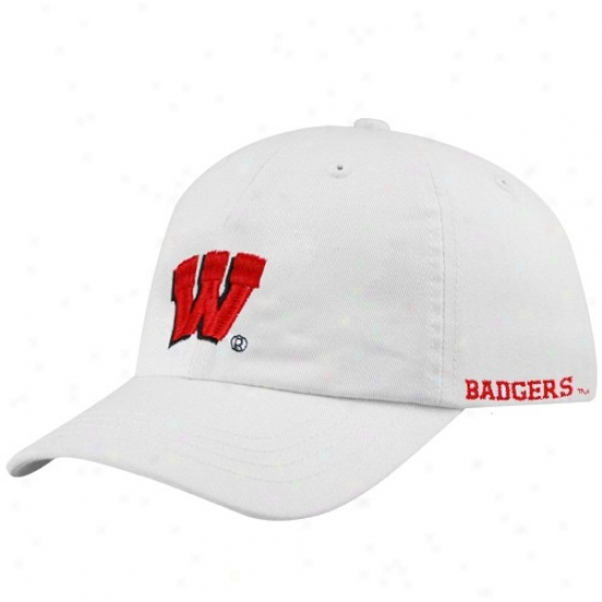 Wisconsin Badgers Merchandise: Wisconsin Badgers Youth White Basic Logo Adjustable Slouch Hat