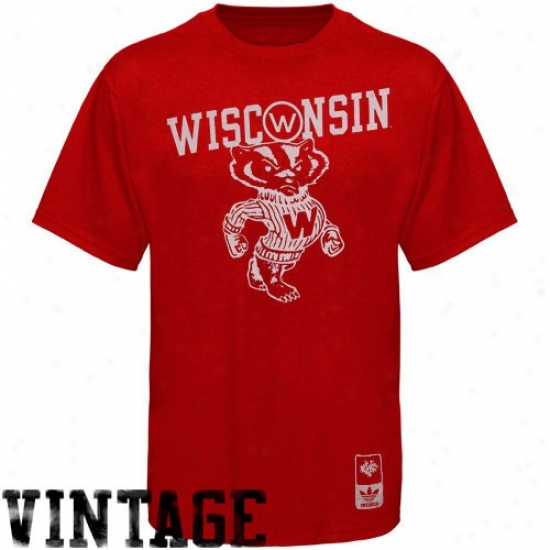 Wisconsin Badgers Shirts : Adidas Wisconsin Badgers Cardinal Super-soft Vintage Mascot Shirts