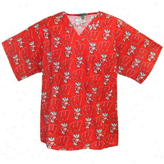 Wisconsin Badgers Shirts : Wisconsin Badgers Scarlet All Over Print Scrub Top