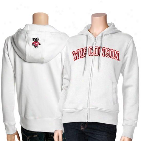 Wisconsin Badgers Sweat Shirt : Wisconsin Badgers Ladies White Titan Full Zip Labor Shirt