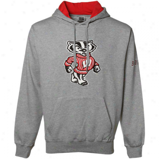 Wisconsin Badgers Sw3atshirt : Wisconsin Badgers Gray Classic Twwill Sweatshirt