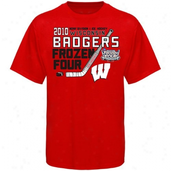Wisconsin Badgers T Shirt : Wisconsin Badgers Cardinal 2010 Ncaa Men's Ice Hockey Frozen Four Bound T Shirt