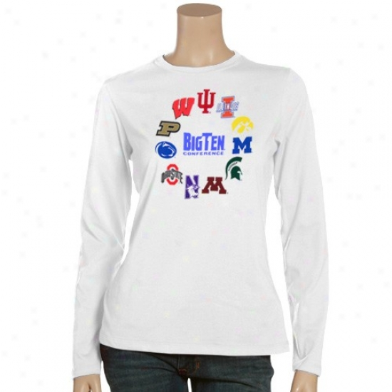 Wisconsin Badgers Tshirts : Big Ten Ladies White Conference Long Sleeve Tshirts