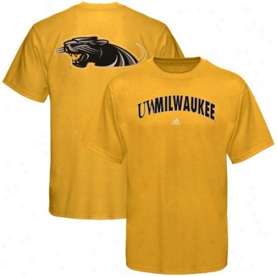 Wisconsin-milwaukee Pwnthers Tshirt : Adidas Wisconsin-milwaukee Panthers Gold Relentless Tshirt