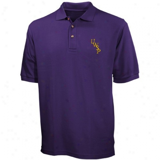 Wisconsin-stevens Point Pointers Clothing: Wisconsin Stevens Point Pointers Purple Offend Polo
