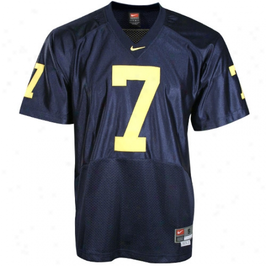 Wolverine Jerseys : Nike Wolverine #7 Navy Twilled Football Jerseys