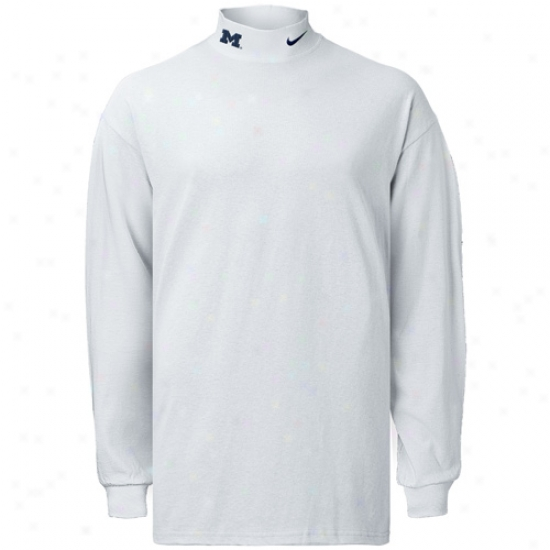 Wolverine T Shirt : Nike Wolverine White Mock Neck Far-seeing Sleeve T Shirt