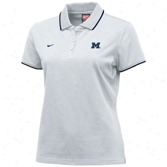Wolerines Golf Shirt : Nike Wolverines White Ladies College Classic Golf Shirt