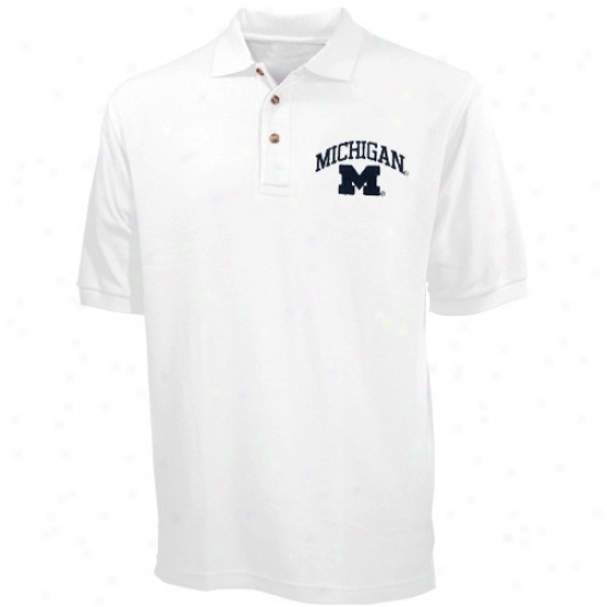 Wolverines Golf Shirt : Wolverines White Pique Golf Shirt