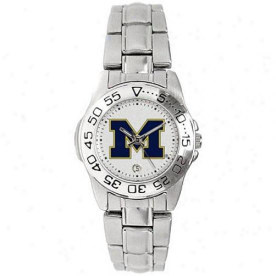 Wolverines Wrist Watch : Wolverines Ladies Gameday Sport Wrist Watch W/stainless Steel Band