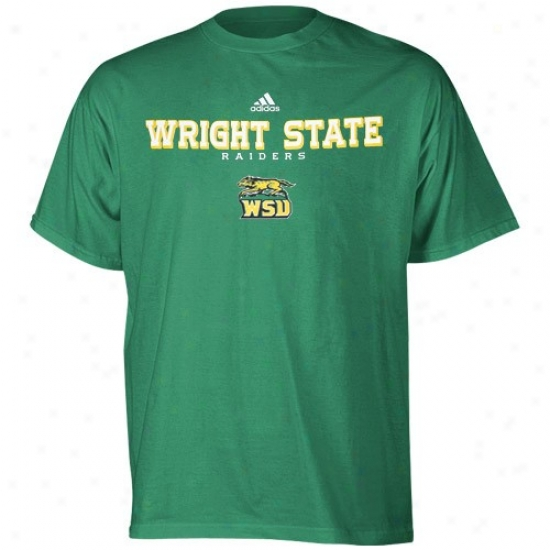 Wright State RaidersT s-hirt : Adidas Wright State Raiders Green Faithful Basic T-shirt