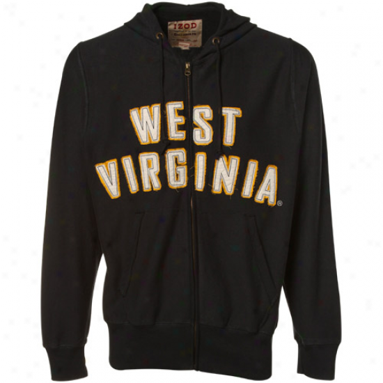 Wvu Mountaineer Fleece : Izod Wvu Mountaineer Navy Blue Distressed Full Zip Fleece