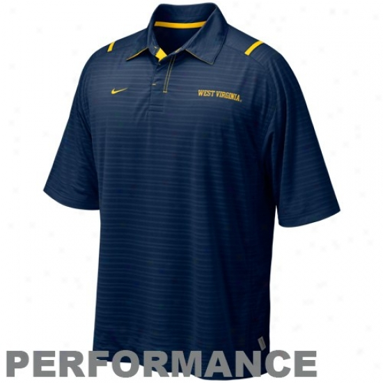 Wvu Mountaineer Polos : Nike Wvu Mountaineer Navy Blue Conference Corrner Performance Polos