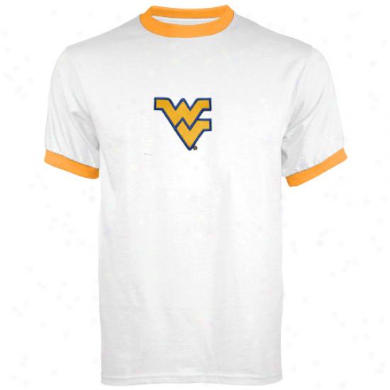 Wvu Mountaineer Tshir : Wvu Mountainrer Youth White Ringer Tshirt