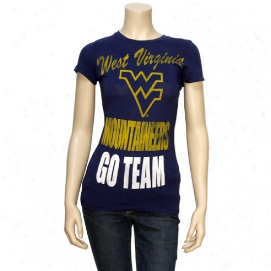 Wvu Mountaineers Shirts : Wvu Mountaineers Navy Blue Ladies Vintage Soft Go Team Shirts