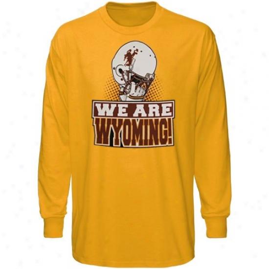 Wyoming Cowboys Shirt : Wyoming Cowboys Youth Gold We Are Long Sleeve Shirt