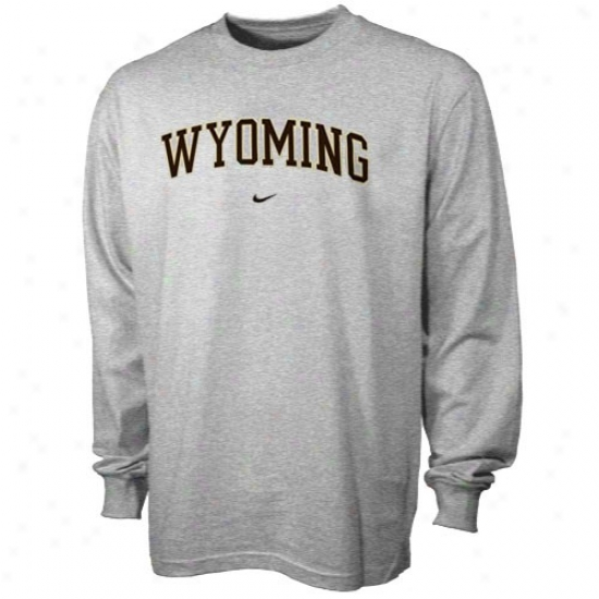Wyoming Cowboys Tees : Nike Wyoming Cowboys Ash College Greek  Long Sleeve Tees