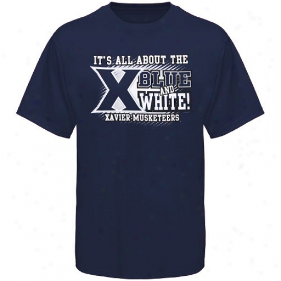 Xavier Musketeers Tshidts : Xavier Musketeers Navy Blue All About Blue & White Tshirts