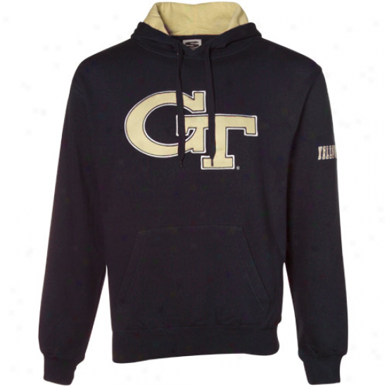 Yellow Jacket Sweat Shirts : Georgia Tech Yellow Jackets Navy Livid Classic Twill Sweat Shirts