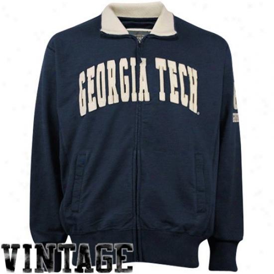 Yellow Jackets Jackets : Georgia Tech Yellow Jackets Navy Blue Vintage Full Zip Decker Jackets