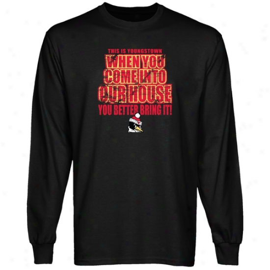 Yoingstown State Penguins T-sshirt : Youngstown State Penguins Black Bring It Long Sleeve T-shirt