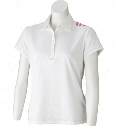 Adidas Women S Short Sleeve 3 Stripe Mesh Polo