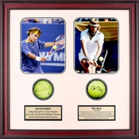 Assorted Federer & Borg Autkgraph Shadow Box