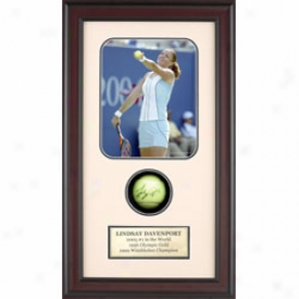 Assorted Lindsay Davenport Autograph Shadow Box