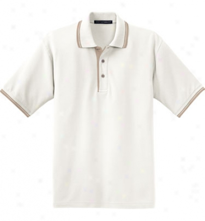 Assorted Logo Port Authority Men S Silktouch With Stripetrim Polo