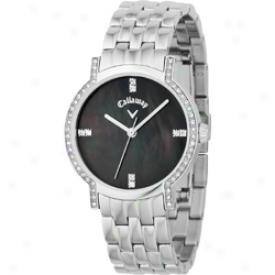 Callaway Ladies Black Dial Watch With Crystals And Silver Bracelet