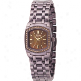 Callaway Ladies Watch With Crystals And Brown Ion Plated Bracelet