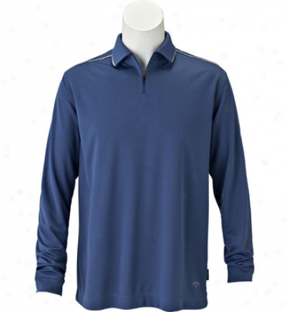 Callaway Men S Long Sleevd Half Zip Solid Polo With Piping