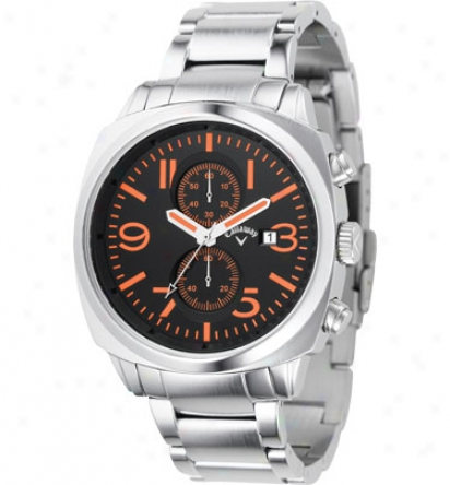 Callaway Men S Round Black/orange Dial With Silver Bad