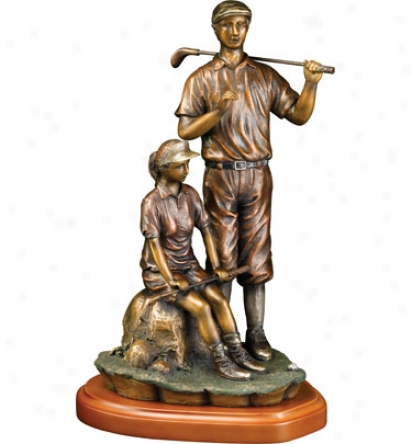 Clubhouse Collection Bronzed Golf Couple Statue, 18