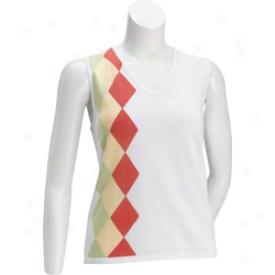 Ep Pro Sleeveless Argyle V-neck Top