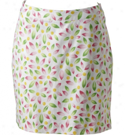 Ep Pro Women S 19  Stretch Cotton-wool Pique Petal Print Skort - White Multi