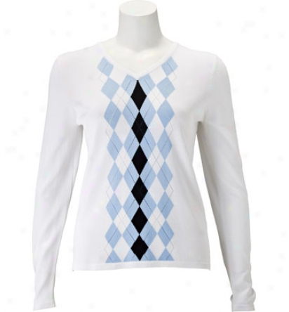 Ep Pro Women S Long Sleeve V-beck Argyle Pointelle Sweater