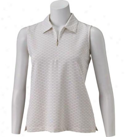 Ep Pro Women S Sleeveless Novelty Jacquard Stripe Zip Polo
