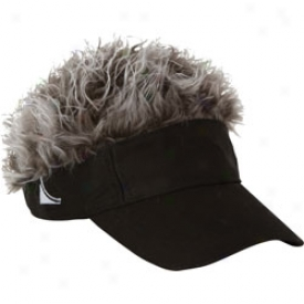 Flair Hair Black Visor With Gray Hair