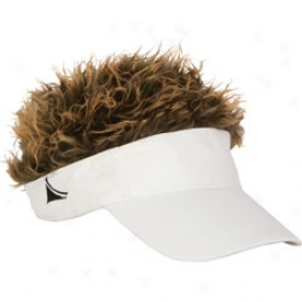 Flair Hair White Visor With Brown Hair